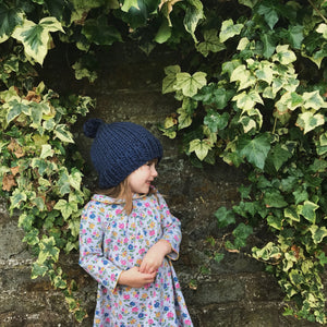 The Knit Kit Company | Fala Hat Easy Knitting Kit for beginners | blue | on young female model