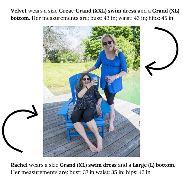 Bathing Boomers Size Guide: Velvet and Rachel's Size