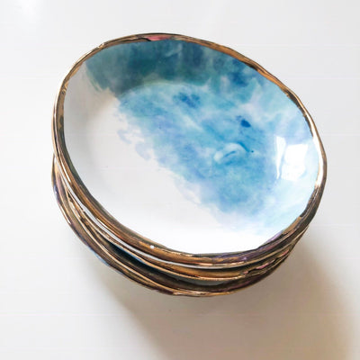 22k Gold Rim Big Sur Ceramic Bowl
