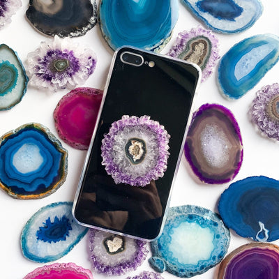 Gemstone Phone Grips- Powerful Amethyst