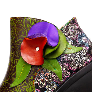New Fashion Ethnic Style Retro Women's Boots Stitching Craft Leather Women's Boots