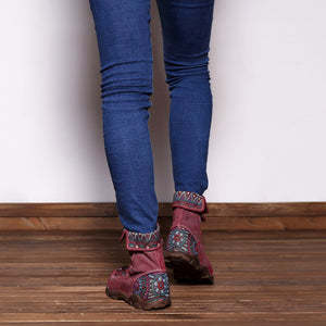 Casual Genuine Leather Splicing Jacquard Lace Up Zipper Flat Boots