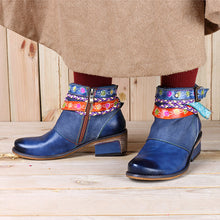 Load image into Gallery viewer, Friday Splicing Handmade Weaving Strap Ankle Leather Boots