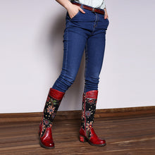 Load image into Gallery viewer, Cowgirl Flower Pattern Genuine Leather Splicing Jacquard Knee Boots