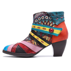 Women's Bohemian Color Splicing Pattern Side Zipper Ankle Leather Boots | Block Heel Ankle