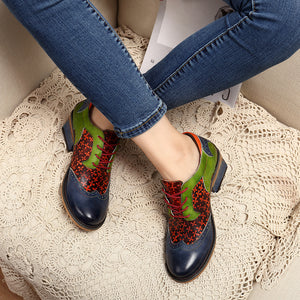 Women Retro Clover Pattern Hand-colored Genuine Leather Lace Up Comfortable Shoes