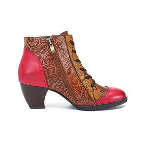 Vintage Style Handmade Leather Comfort Women's Boots with Vintage Ethnic