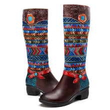 Load image into Gallery viewer, Cowgirl Retro Pattern Lace Up Genuine Leather  Comfortable Boots