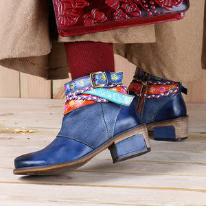 Friday Splicing Handmade Weaving Strap Ankle Leather Boots