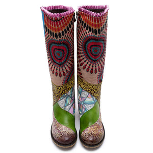 Bohemian carved leather ladies boots