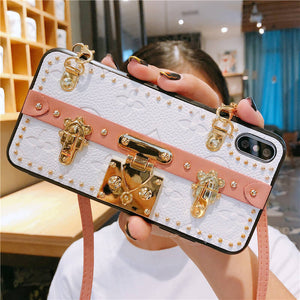 High Quality Luxury Leather Strap Bracket Phone Case For iPhone