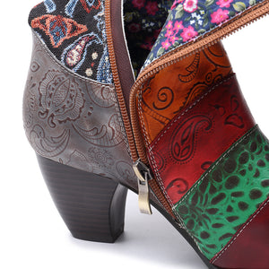 Vintage Vine Pattern Genuine Leather Splicing Jacquard Comfortable Women Boots