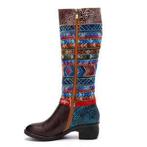 Cowgirl Retro Pattern Lace Up Genuine Leather  Comfortable Boots
