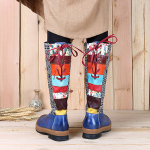 Bohemian Splicing Pattern Flat Leather Knee Boots