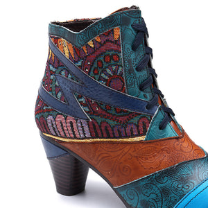 New Handmade Leather Stitching Jacquard Craft Fashion Women's Boots