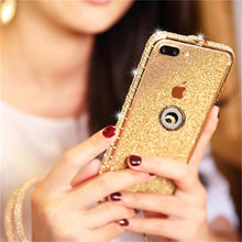 Load image into Gallery viewer, Diamond High Quality Line Black Glitter Ring Phone Case For iPhone