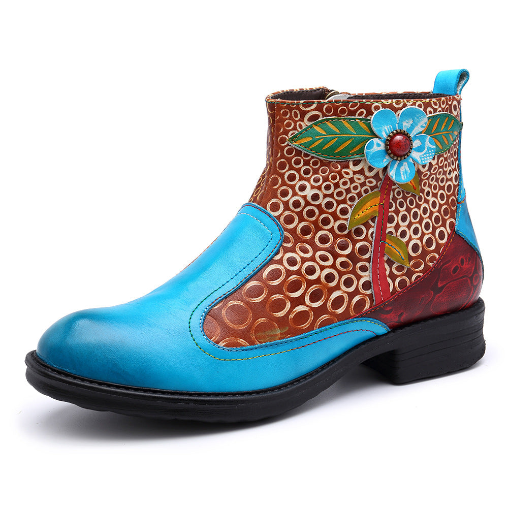 Cowgirl Genuine Leather Ethnic Style Stitching Women's Ankle Boots