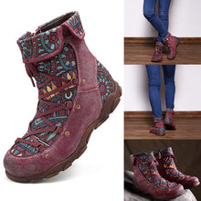 Load image into Gallery viewer, Casual Genuine Leather Splicing Jacquard Lace Up Zipper Flat Boots