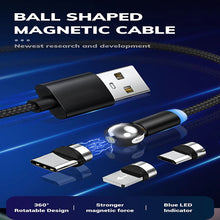 Load image into Gallery viewer, Dealggo丨2020 Spherical 360 Degree Magnetic Charging Cable 3 in 1 Type C Micro USB Cable usb Magnetic Cable for iPhone Android
