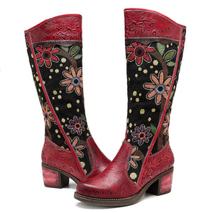 Cowgirl Flower Pattern Genuine Leather Splicing Jacquard Knee Boots