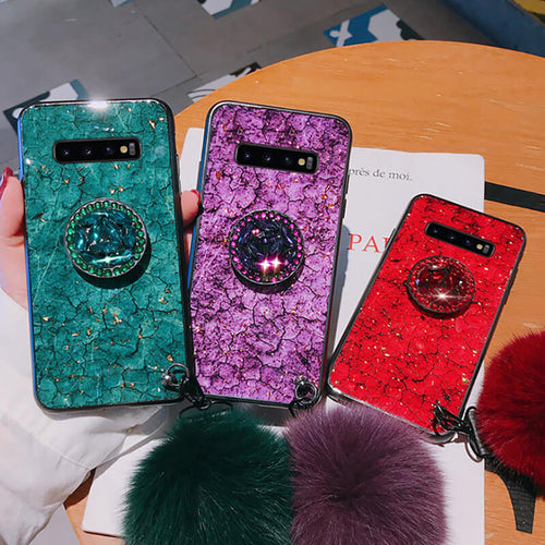Hair Ball Airbag Bracket Diamond Case For Samsung