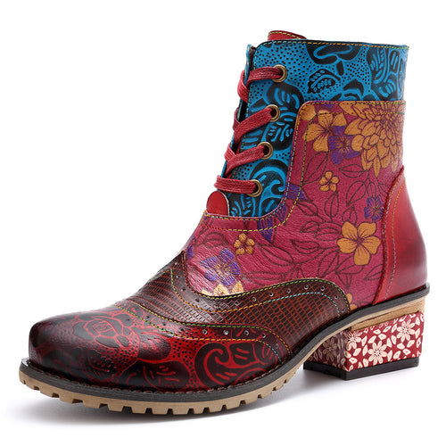 2018 new casual retro ethnic style leather women's boots