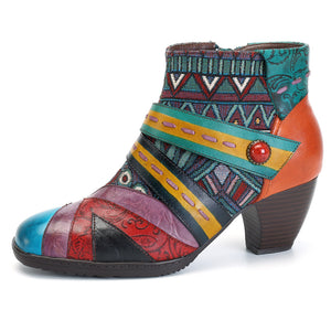 Bohemian Color Match Splicing Pattern Zipper Ankle Leather Boots