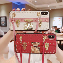 Load image into Gallery viewer, High Quality Luxury Leather Strap Bracket Phone Case For iPhone