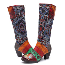 Load image into Gallery viewer, Vintage Vine Pattern Genuine Leather Splicing Jacquard Comfortable Women Boots