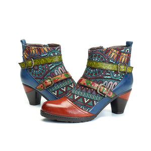 Bohemian Splicing Pattern Block Buckle Ankle Leather Boots