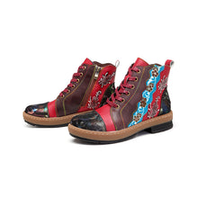 Load image into Gallery viewer, Bohemian Handmade Flower Splicing Pattern Genuine Leather Zipper Women Boots
