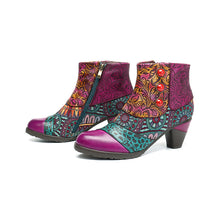 Load image into Gallery viewer, Bohemian Splicing Pattern Button Zipper Ankle Leather Boots