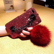 Load image into Gallery viewer, Dazzling Plush Ball Glitter Airbag Mobile Phone Case For iPhone (With Bracket) - VooChoice