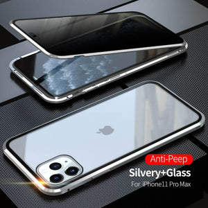 2020 Double-Sided Protection Anti-Peep Tempered Glass iPhone Case