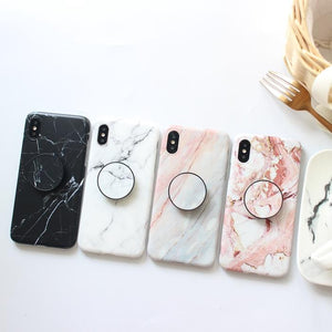 Sleek Marble PopSocket Holder Case For iPhone