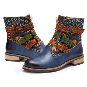 Vintage Modern Leather Splicing Jacquard Zipper Women Ankle Boots