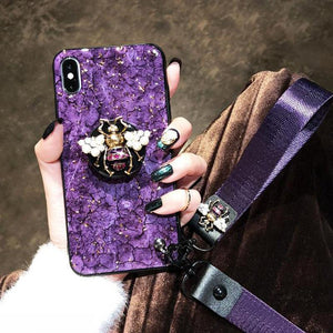 2019 New Bee-shaped iPhone & Samsung & HUAWEI Case with PopSockets and Hairball and 2 Lanyards - hotbuyy
