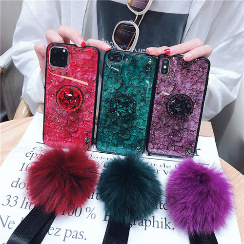 Hair Ball Airbag Bracket Diamond Case For iPhone
