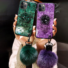 Load image into Gallery viewer, Hair Ball Airbag Bracket Diamond Case For iPhone