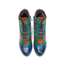 Load image into Gallery viewer, Bohemian Splicing Pattern Block Zipper Ankle Leather Boots