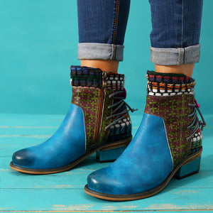 Cowgirl Retro Weave Genuine Splicing Leather Pattern Adjustable Comfortable Boots