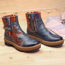 Load image into Gallery viewer, Delicate Pattern of Bohemian Color Leather Boots