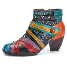 Load image into Gallery viewer, Bohemian Color Match Splicing Pattern Zipper Ankle Leather Boots