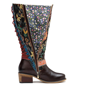 2018 Casual Retro Ethnic Style Leather Knee Women's Boots