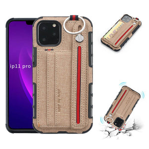 British Style Canvas Pattern Multi-function Leather Phone Case For iPhone