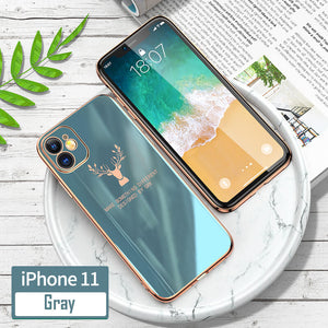 (Free Gift: Tempered Glass)Luxury Plating Deer Pattern iPhone Case