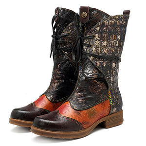 Cowgirl Retro Pattern Lace Up Genuine Leather Splicing Comfortable Flat Boots