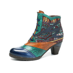 Bohemian Splicing Pattern Block Zipper Ankle Leather Boots
