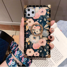 Load image into Gallery viewer, French Style Flower Lanyard Ring Phone Case for iPhone