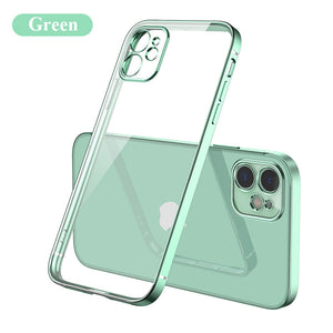 2020 Luxury Plating Transparent Phone Case For iPhone 12, 11, X, 8, 7, SE Series